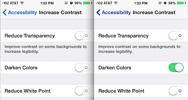 Darker colors vs default colors in iOS