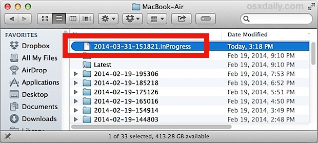 Time Machine inProgress file