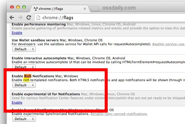 Disable Chrome menu bar notification bell icon in Mac OS  X