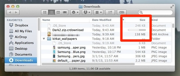 Show download progress in Mac OS X Finder windows