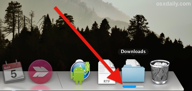 File download progress indicator in the Dock