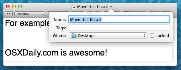 File moved via the Files Titlebar of Mac OS X