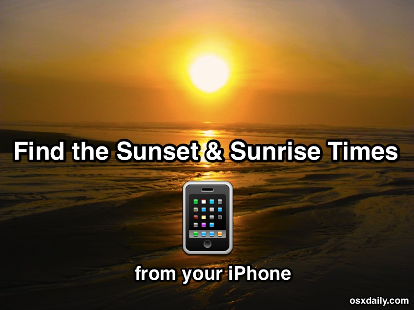 Get Sunset and Sunrise Times from iPhone