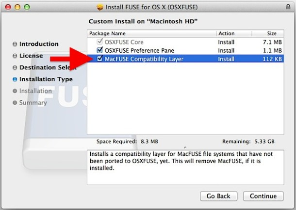 Installing FUSE EXT support for Mac OS X