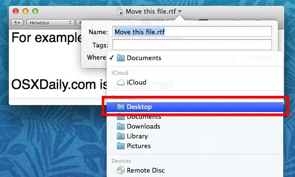 Moving a file in Mac OS X from the titlebar
