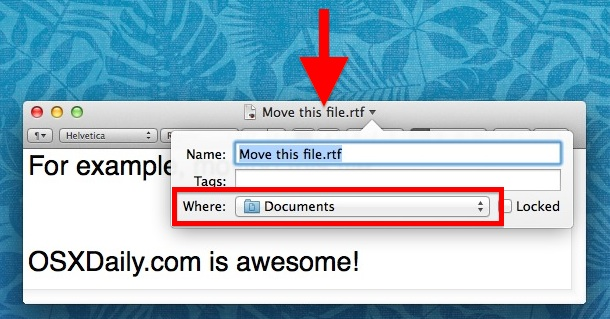 Move a file in Mac OS X from the window titlebar