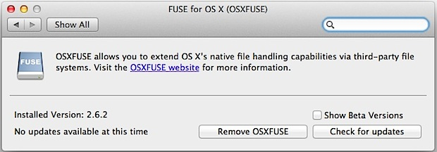 OS X FUSE EXT support for Mac system preference panel