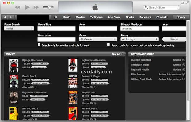 Power Search Movies in iTunes