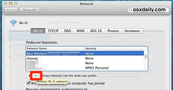 Remove a Wi-Fi Network