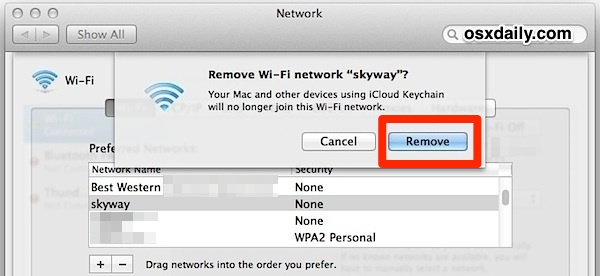 Remove a Wi-Fi Router from Mac OS X