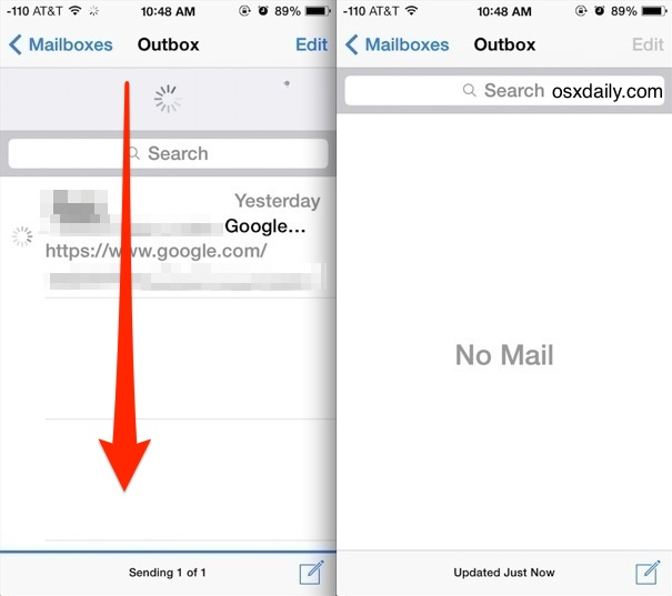 Resend unsent messages in Mail app for iphone