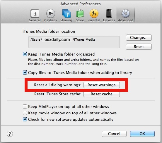 Reset dialog warnings in iTunes