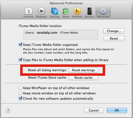 Reset dialog warnings in iTunes