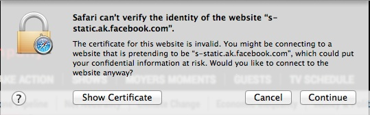 Safari can't verify identity of the website error