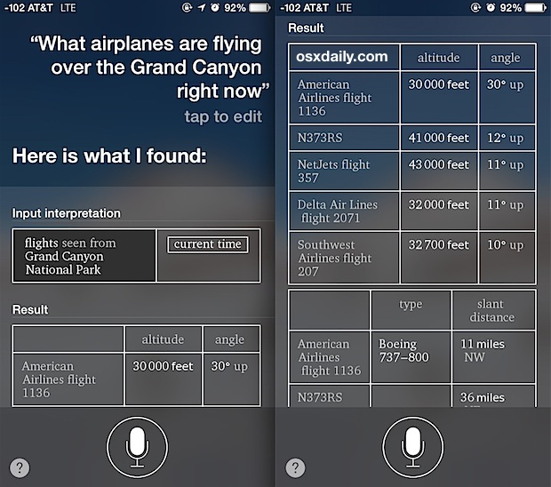 See airplanes flying above with Siri on the iPhone