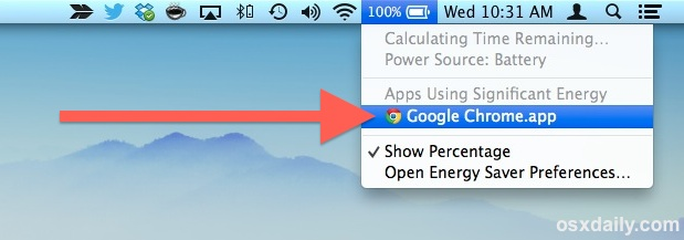 See the app draining battery on the Mac