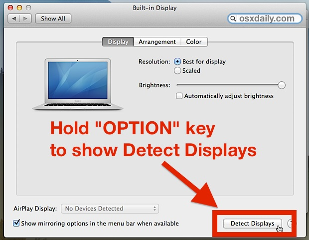Show Detect Displays in Mac Displays panel