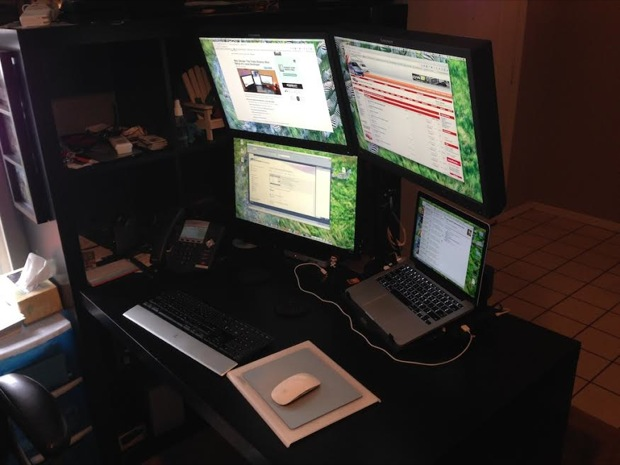 Sideview of the Mac setup with four displays