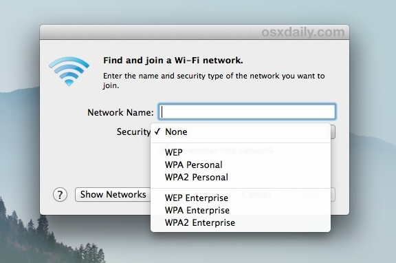 Specify the security type used to connect to a wireless router