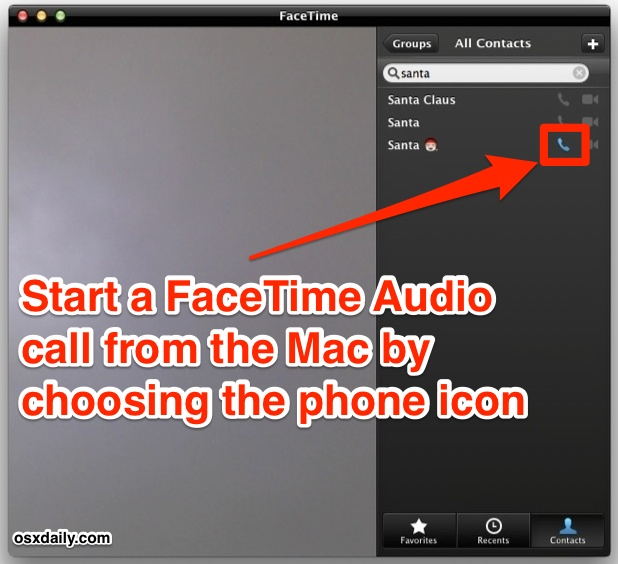 Start FaceTime Audio calls from a Mac