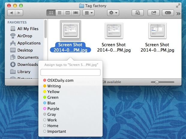 Tag files with keyboard shortcut in OS X