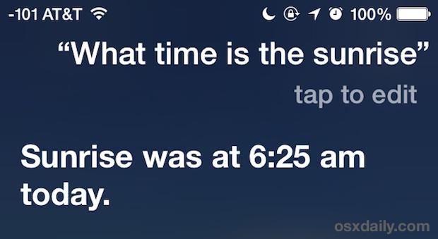 What time is Sunrise, Siri?