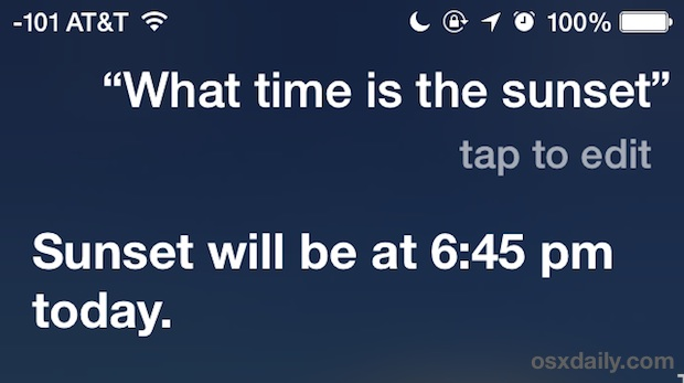 What time is sunset Siri