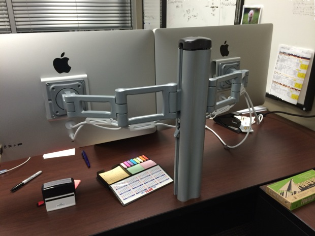 Thunderbolt displays on adjustable mounts