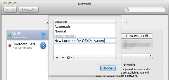 Add new Network Location in Mac OS X