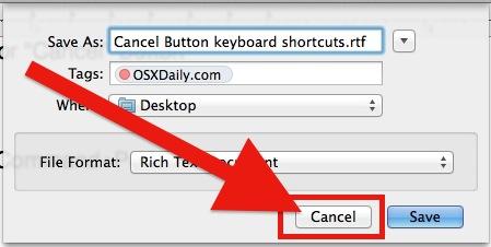 Cancel Button keyboard shortcut in Mac OS X