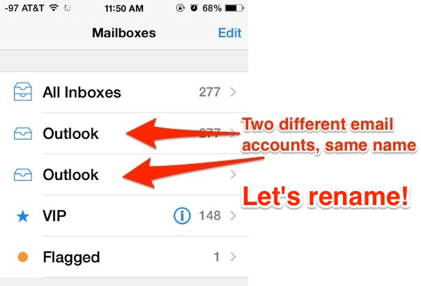 Different Mail accounts with the same name, rename the email accounts in iOS