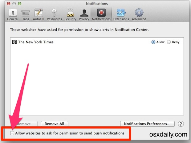 Disable Website Push Notifications in Mac OS X