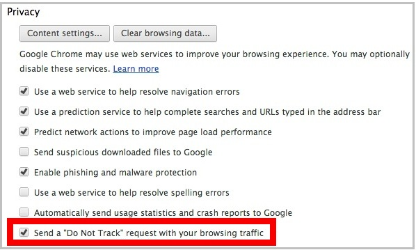 Do Not Track option in Chrome browser