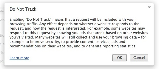 Do Not Track in Chrome browser