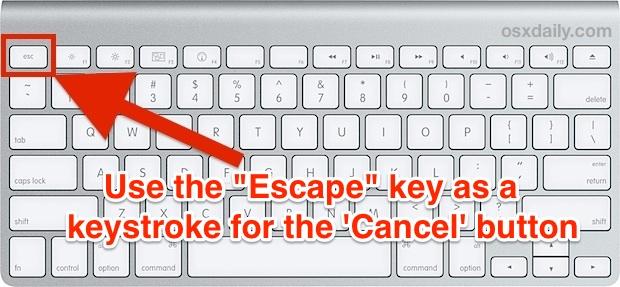 Escape Key as Cancel Button in Mac OS X