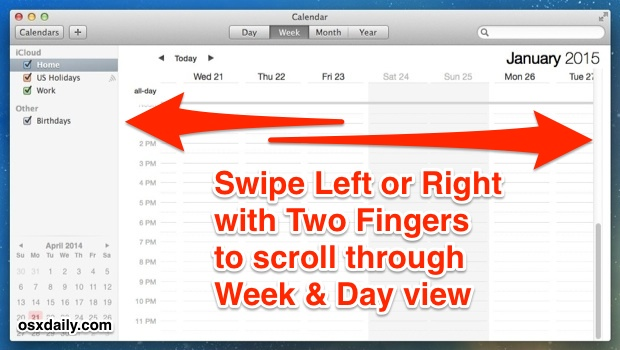 Fast navigate week and day view in Calendar app for Mac OS X