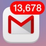 Large mail unread count number on icon