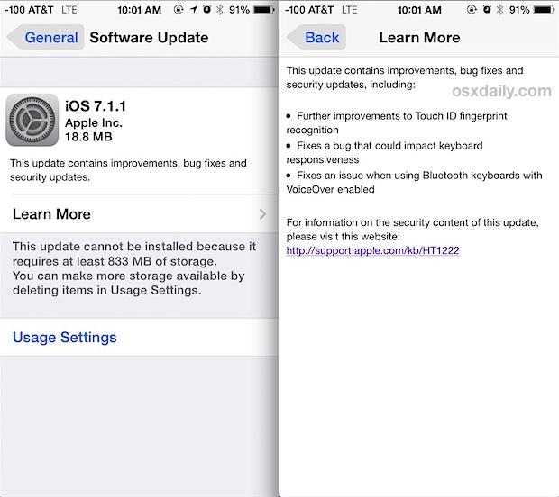 iOS 7.1.1 update
