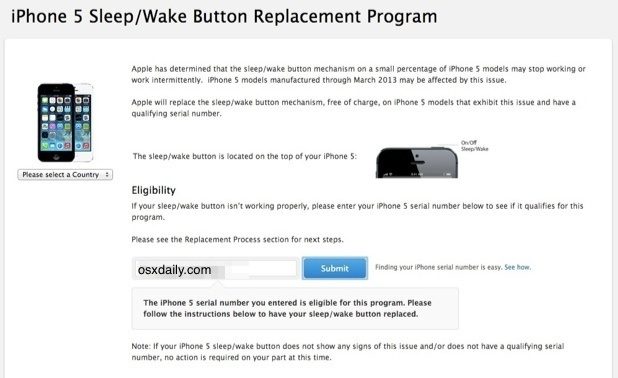iPhone 5 Power / Sleep / Wake button replacement program