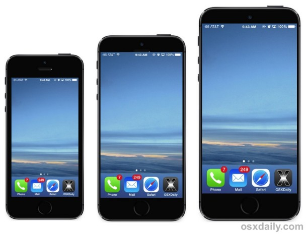 iPhone 6 mockups with larger displays