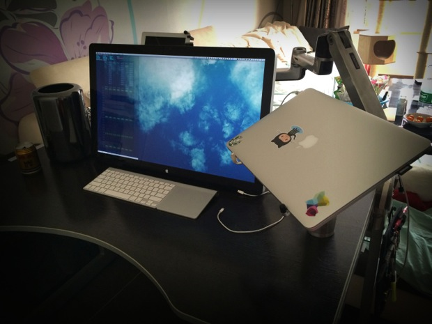 Mac Pro and Retina MacBook Pro desk setup