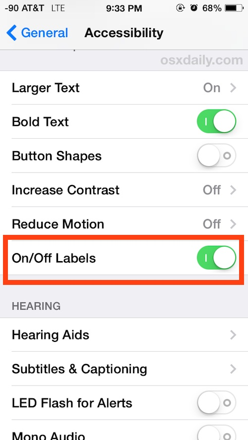 On and Off Labels in iOS Settings