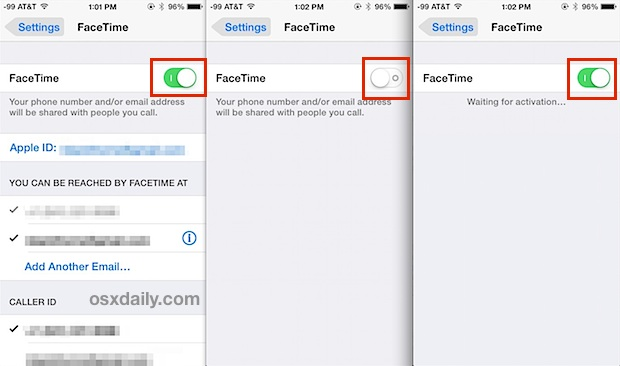 Reactivate Facetime in iOS