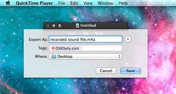 Saving recorded sound file in Mac OS X