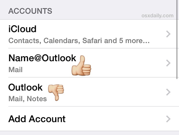 Rename a Mail account in iOS