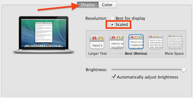 Retina Mac display resolutions