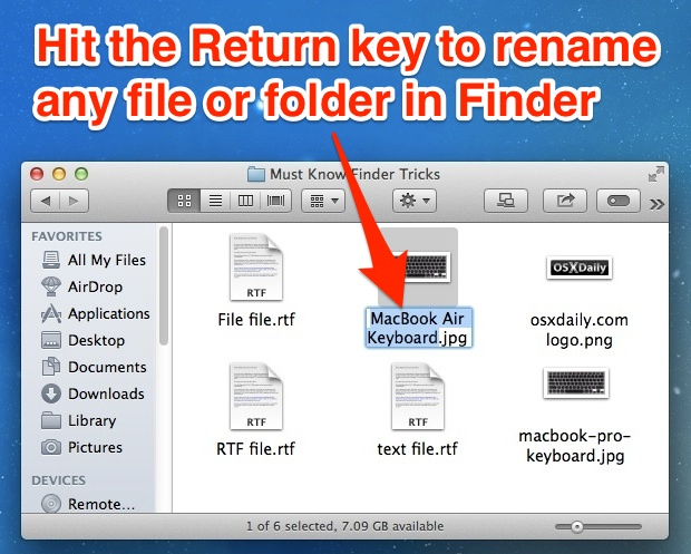 Return key will instantly rename a file or folder