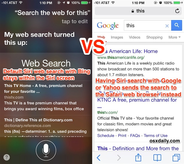 Searching the web with Siri vs asking Siri to search Google or Yahoo