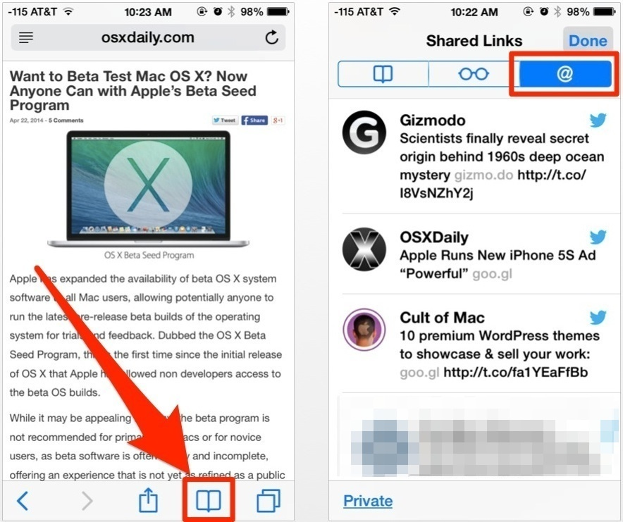 Shared Links on Twitter in iOS Safari