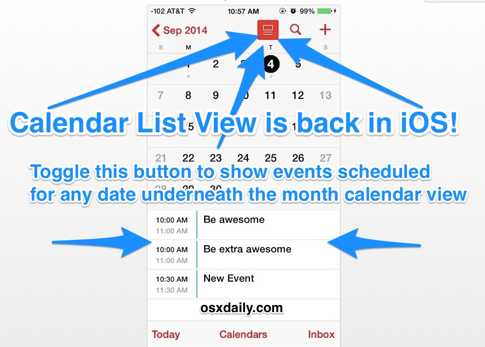 Show the Calendar List view in iOS Calendar app